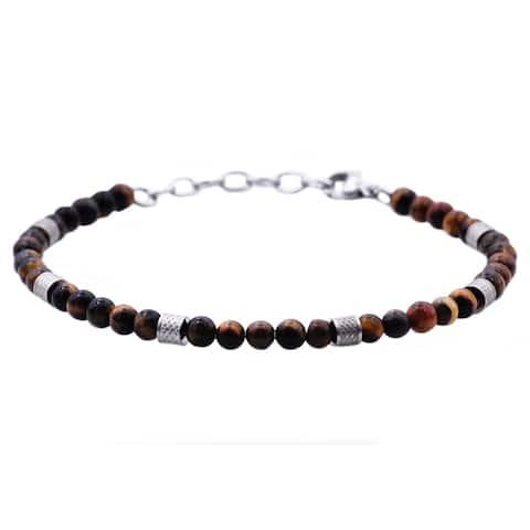 Divina Genuine Tiger Eye Stainless Steel Beaded Men's Bracelet 8.5 Inch