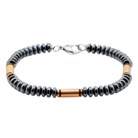 Divina Gunmetal And Rose Plated Stainless Steel Disk Link Chain Men's Bracelet 8.5 Inch