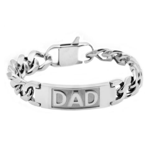 Divina Polished Stainless Steel dad ID curb link Bracelet 8.75 Inch