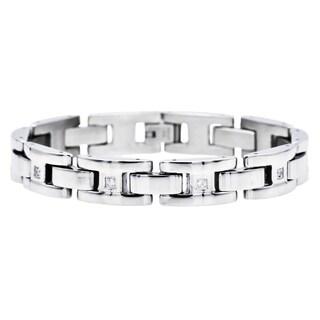Divina Polished Stainless Steel H link cz Bracelet 8.25 Inch.