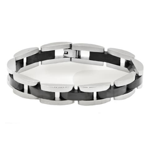 Divina Polished black/steel Stainless Steel semi circle link Bracelet 8.75 Inch.