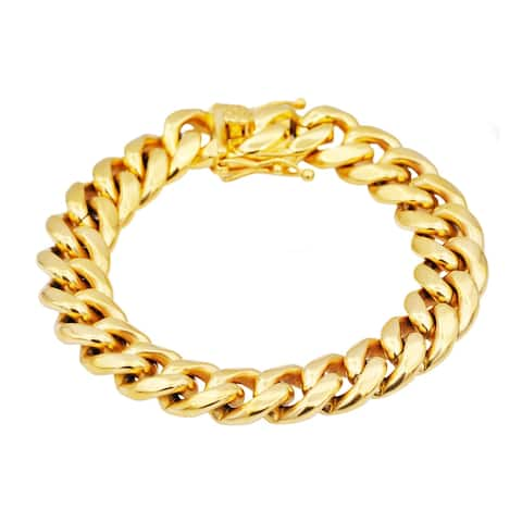 Divina Gold Plated Stainless Steel Cuban Link Chain Men's Bracelet 8.5 Inch