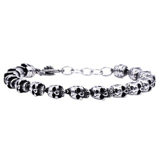 Divina Stainless Steel Skull Chain Men's Bracelet 8.5 Inch