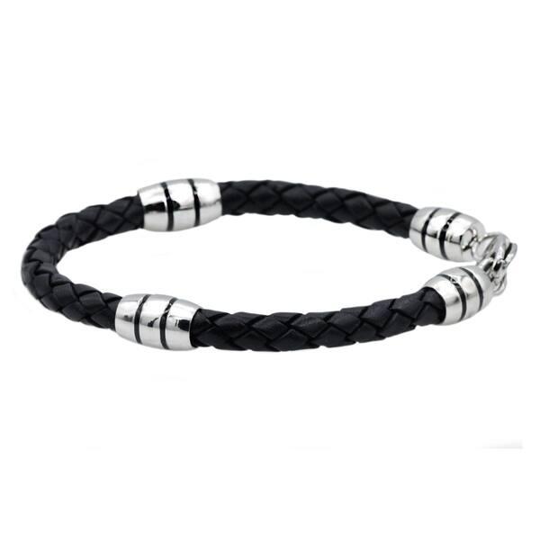 Shop Black Friday Deals On Divina Blackjack Genuine Black Leather And Stainless Steel Bracelet 8 50 Inch On Sale Overstock 22671799