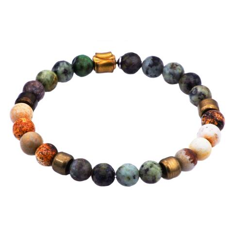 Divina Genuine African Turquoise And Jasper Gold Plated Stainless Steel Beaded Men's Bracelet 8.5 Inch