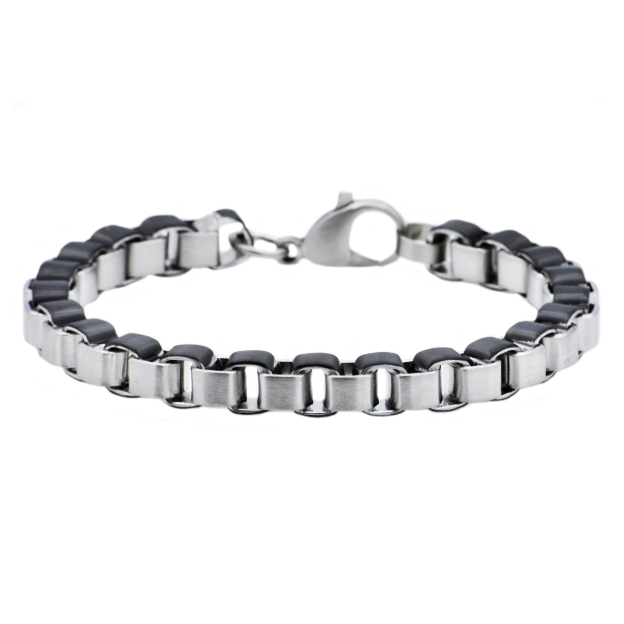 """20/""""MEN Stainless Steel 5mm Silver Smooth Box Link Chain Necklace Bracelet SETS"""