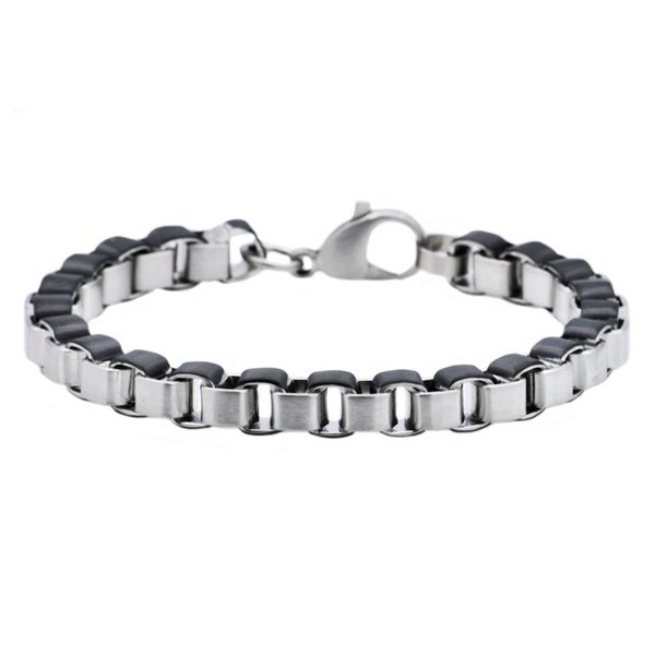 99f34f45b2ff9 Divina Black Plated Stainless Steel Box Link Chain Men's Bracelet 8.5 Inch