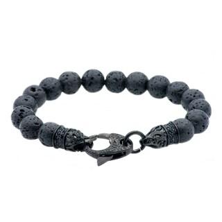 Divina Genuine lava stone black Stainless Steel bead Bracelet 8.75 Inch.