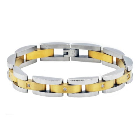 Divina Brushed and polished two tone gold Stainless Steel semi circle link Bracelet 8.50 Inch.