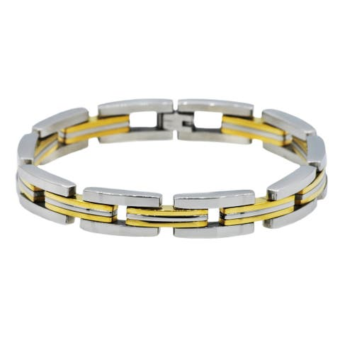 Divina Brushed and polished two tone gold Stainless Steel striped link Bracelet 8.50 Inch.