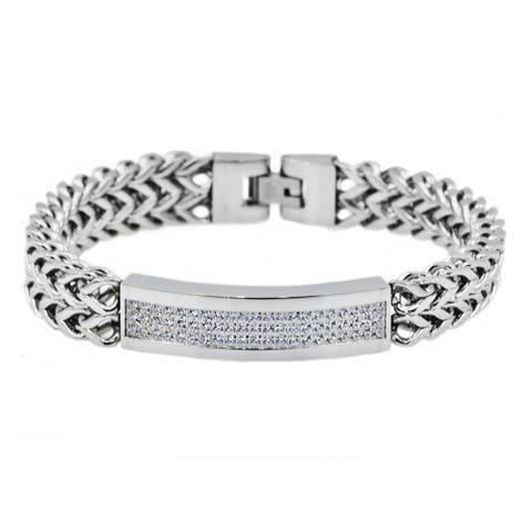 Divina Polished Stainless Steel 3 row CZ double Franco link Bracelet 8.75 Inch.
