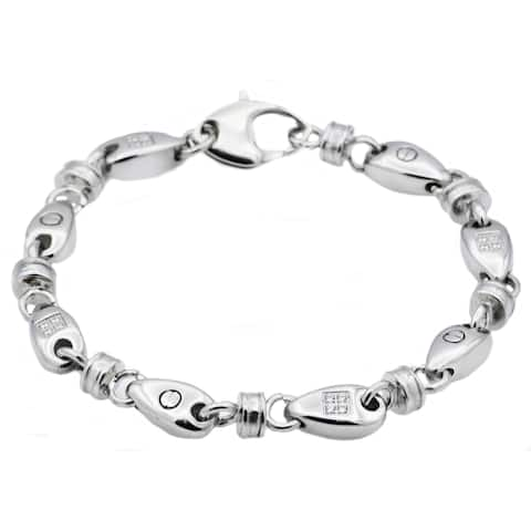 Divina Stainless Steel with Cubic Zirconia Chain Link Men's Bracelet 8.5 Inch