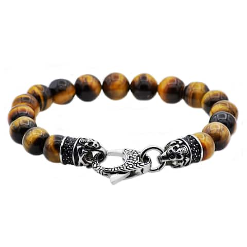 Divina Genuine tiger eye Stainless Steel bead Bracelet with black CZ lobster clasp 8.75 Inch