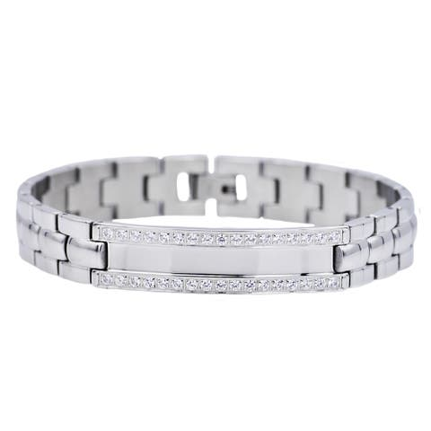 Divina Polished Stainless Steel cz ID Bracelet 8.25 Inch.