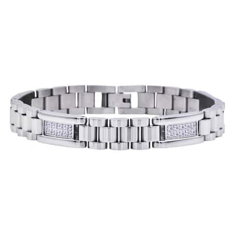 Divina Stainless Steel With Cubic Zirconia Link Men's Bracelet 8.5 Inch