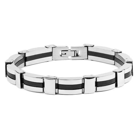 Divina Brushed and polished black Stainless Steel Nugget link Bracelet 8.50 Inch