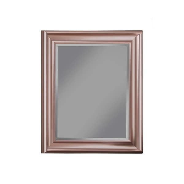 Polystyrene Framed Wall Mirror With Beveled Glass, Rose Gold