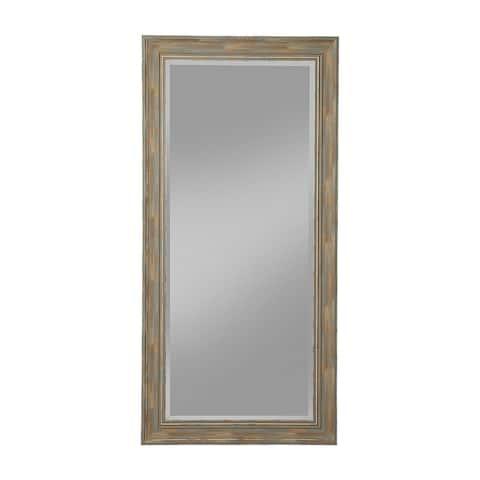 Farmhouse Style Full Length Leaner Mirror With Polystyrene Frame, Blue