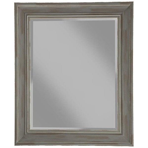Polystyrene Framed Wall Mirror With Sharp Edges, Antique Gray