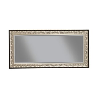 Full Length Leaner Mirror With Polystyrene Frame, Antique Silver and Black