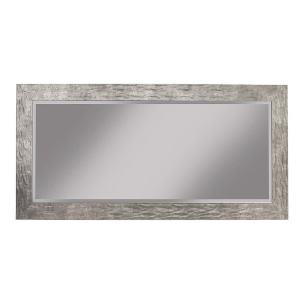 Full Length Leaner Mirror With Metal Hammered Frame, Gray