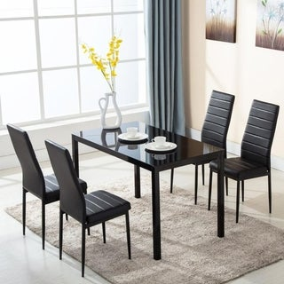 Modern Black Glass/Faux Leather 5-piece Rectangular Dining Table and Chair Set