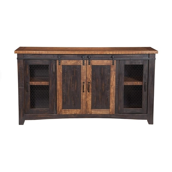 Shop Dual Tone Wood And Metal Tv Stand With 2 Mesh Style Doors