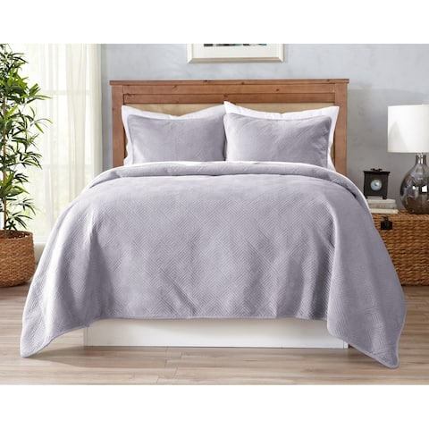 Ambrosia Collection Velvet Reversible Quilt Set with Shams