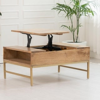 "Pamplona Lift Top Storage Coffee Table - 36"" x 24"" x 16"" (Natural)"