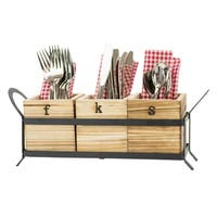 Fork, Knife & Spoon - Wood & Metal Flatware Storage Caddy