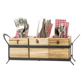 Fork, Knife & Spoon - Wood & Metal Flatware Storage Caddy