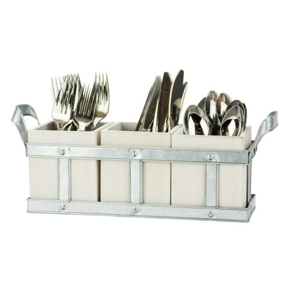 Shop Fork, Knife & Spoon - Galvenized White Washed Wood Flatware ...