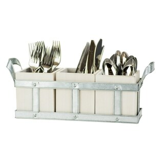 Fork, Knife & Spoon - Galvenized White Washed Wood Flatware Storage Caddy