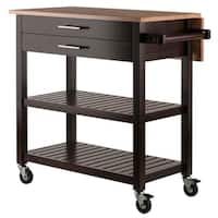 Winsome Langdon Transitional Solid Wood Kitchen Cart - Cappuccino and Natural