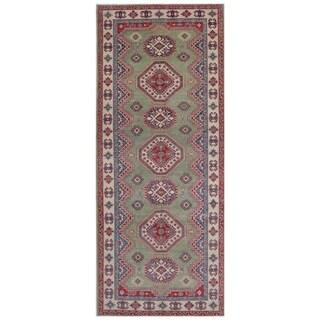 Herat Oriental Afghan Hand-knotted Kazak Vegetable Dye Wool Rug (5' x 12'9)