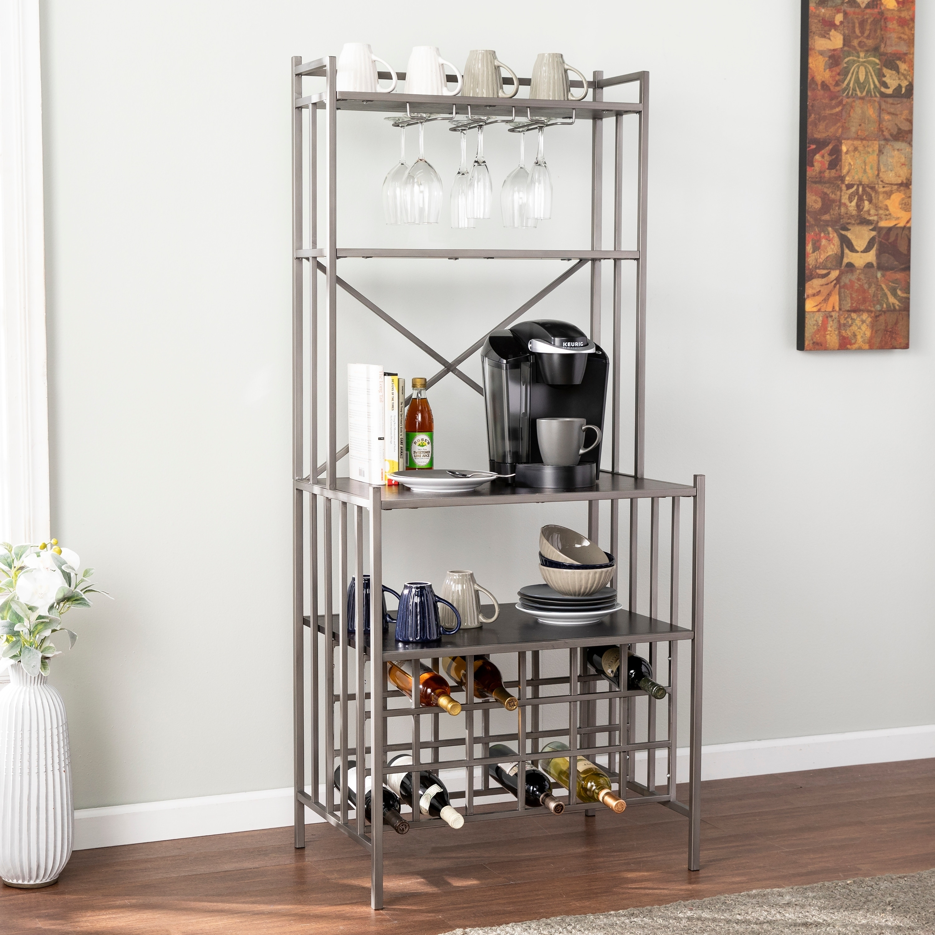 Lucia industrial style bakers rack w shelves and wine storage
