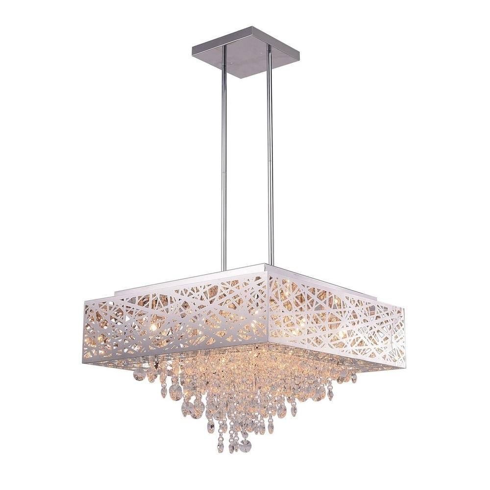 Elegant Crystal Chandelier Modern 12 Light Lamp Pendant Fixture Lighting Chrome