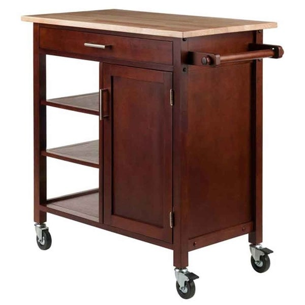 Shop Winsome Marissa Solid Wood Kitchen Cart In Walnut