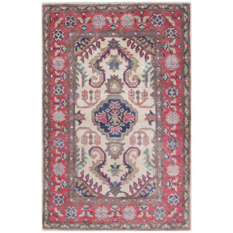 Handmade One-of-a-Kind Kazak Vegetable Dye Wool Rug (Afghanistan) - 2'6 x 3'10