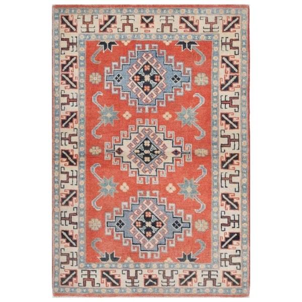 Handmade Kazak Vegetable Dye Wool Rug (Afghanistan) - 2'8 x 4'