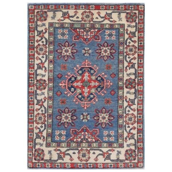 Handmade Kazak Vegetable Dye Wool Rug (Afghanistan) - 2' x 3'