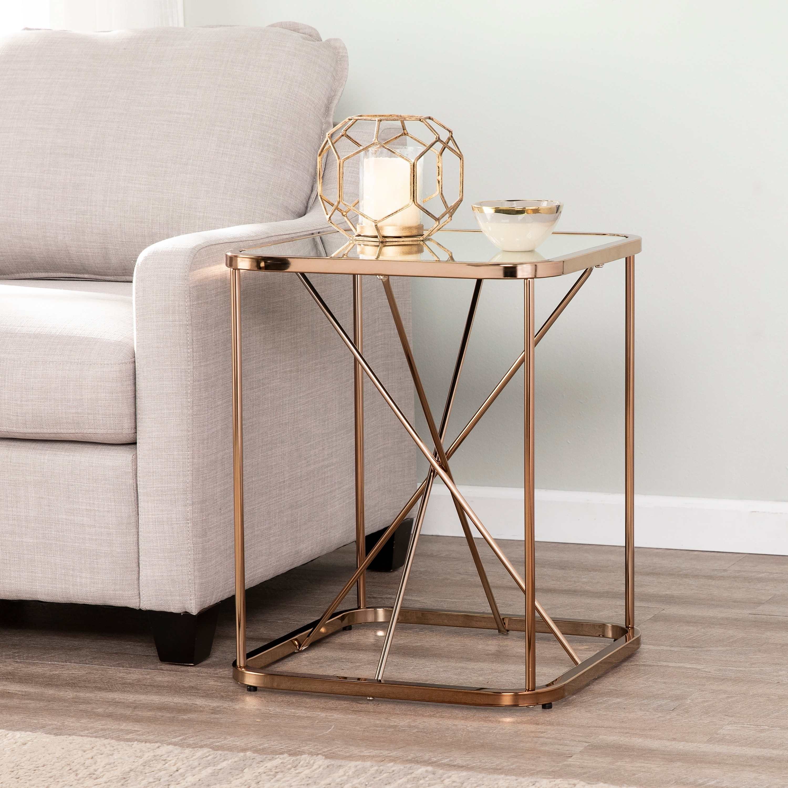 Pieter Mirrored Midcentury Modern Accent Table