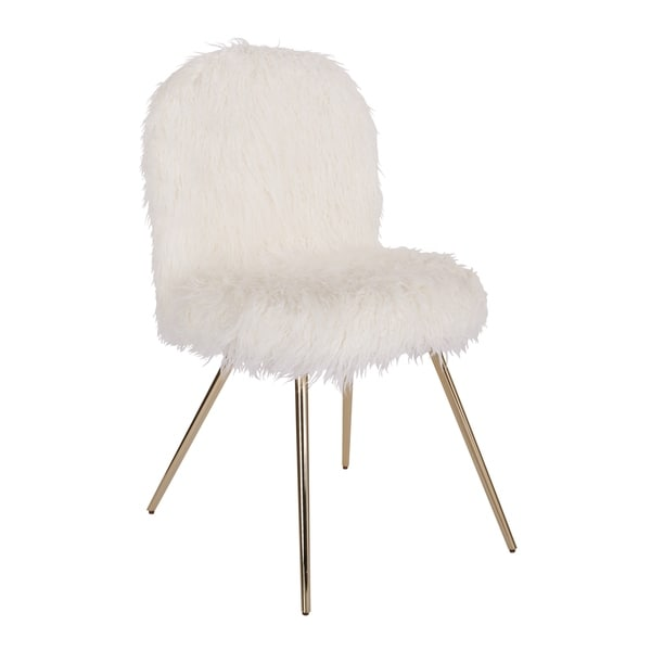 Silver Orchid Conklin White Fur and Gold Accent Chair
