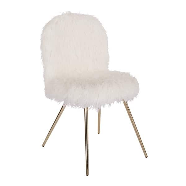 Pleasant Shop Silver Orchid Conklin White Fur Gold Accent Chair Ibusinesslaw Wood Chair Design Ideas Ibusinesslaworg