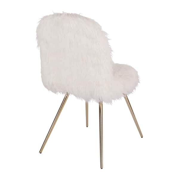 Outstanding Shop Silver Orchid Conklin White Fur Gold Accent Chair Andrewgaddart Wooden Chair Designs For Living Room Andrewgaddartcom
