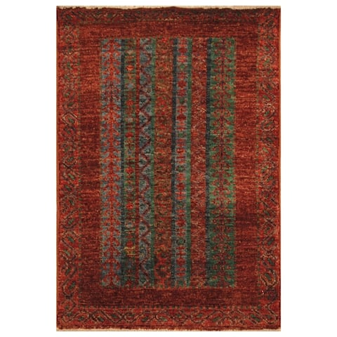 Handmade One-of-a-Kind Kazak Vegetable Dye Wool Rug (Afghanistan) - 2' X 3' - 2' X 3'