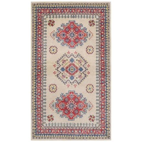 Handmade One-of-a-Kind Kazak Vegetable Dye Wool Rug (Afghanistan) - 2'3 x 4'