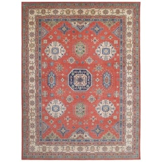 Handmade One-of-a-Kind Kazak Vegetable Dye Wool Rug (Afghanistan) - 9'10 x 13'8