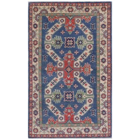 Handmade One-of-a-Kind Kazak Vegetable Dye Wool Rug (Afghanistan) - 3' x 5'