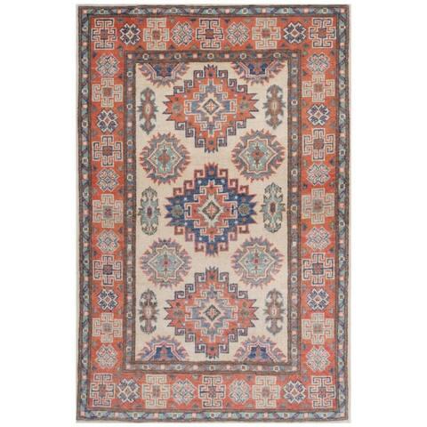 Handmade One-of-a-Kind Kazak Vegetable Dye Wool Rug (Afghanistan) - 2'7 x 4'